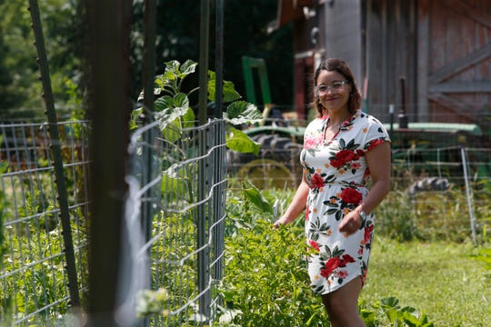 Jasmin Vazquez assistant executive director of Heroic Food among the rows of vegetables at Sprout Creek Farm in the Town of Poughkeepsie on July 16, 2019.