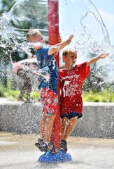 The Red Lion Splash Pad in Fairmount Park, Wednesday, July 17, 2019. Dawn J. Sagert photo