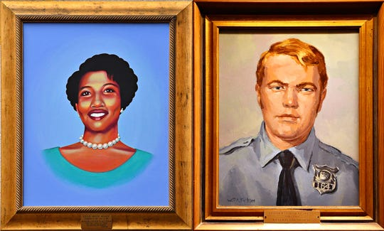 Paintings of Lillie Belle Allen and Henry Clinton Schaad. Dawn J. Sagert photo