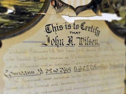 John Aquilla Wilson's discharge papers.