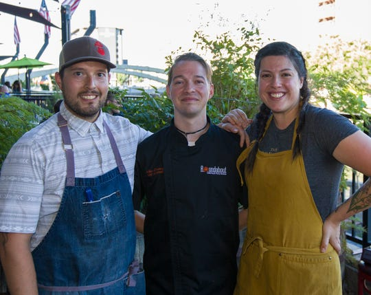 Chefs Geoffrey Caliger, left, Alex Downing and Jessica Marrufo-Shapiro during the Chefs Al Fresco event at Campo Reno Monday, July 15, 2019.
