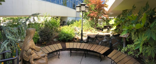 """The meditative """"healing"""" garden a few steps from Pagato at Mercy."""