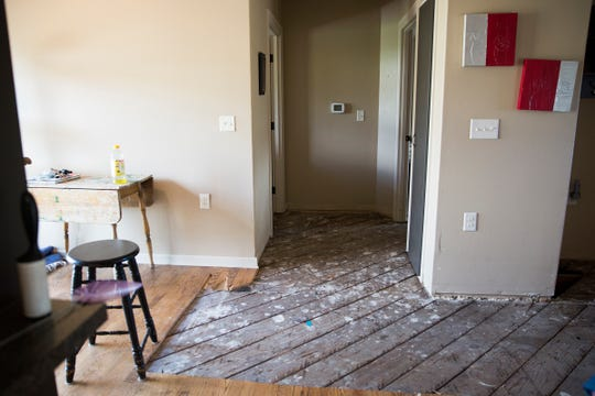 Damage from a sewer system bursting into Heidi Schindler's Silverton home is shown on July 16, 2019.