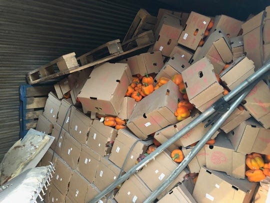 Boxes of peppers were tossed when a truck driver attempted to swerve to miss a deer on US 83, 10 miles north of Junction, on Wednesday, July 17.