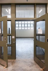 Doors open to a recreation area, now empty, on Wednesday, July 17, as part of the new fifth-floor addition to the Minnehaha County Jail.
