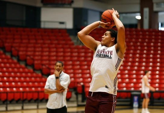 Missouri State basketball player Gaige Prim shoots a basket during practice on Wednesday, July 17, 2019.