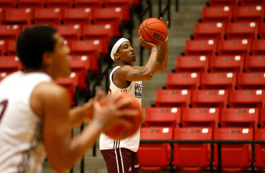 Missouri State basketball player Ja'Monta Black shoots a basket during practice on Wednesday, July 17, 2019.