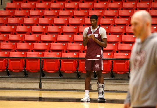 Missouri State basketball player Lamont West on the sidelines during practice on Wednesday, July 17, 2019.