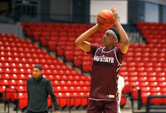 Missouri State basketball player Isiaih Mosley shoots a basket during practice on Wednesday, July 17, 2019.