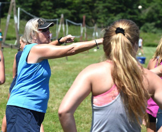 Fort Defiance coach Sue Leonard is one of the instructors at Lofton Lake's annual volleyball camp in Greenville.