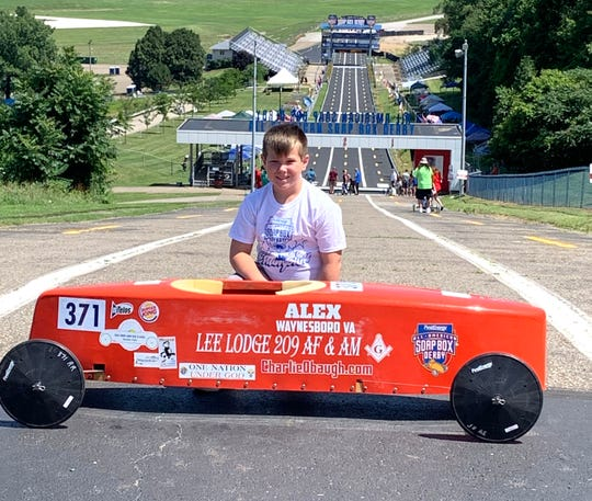 Alex Puckett, 9, will race in the stock division of the All-American Soap Box Derby Saturday in Akron, Ohio.