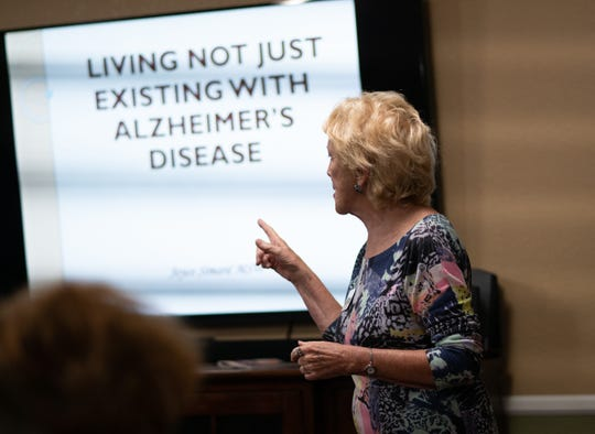Joyce Simard presents to Moments Hospice and members of the public to train caregivers how to best care for patients with memory loss diseases.