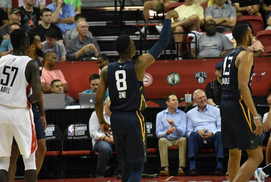 Miye Oni takes a shot during a game against the Houston Rockets during the NBA Las Vegas Summer League.