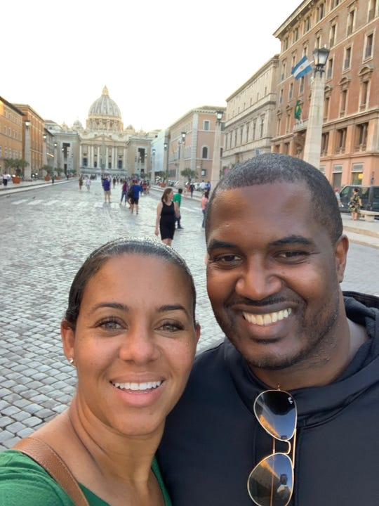 FAMU football coach Willie Simmons and wife Shaia in Barcelona, Spain, earlier this month.