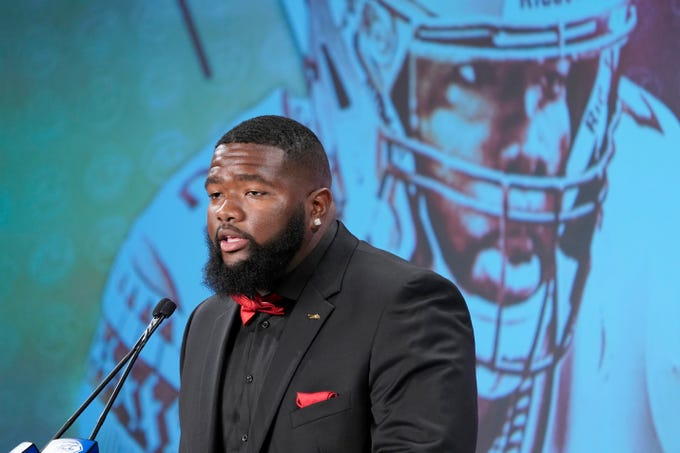 Florida State's Marvin Wilson speaks during the Atlantic Coast Conference NCAA college football media day in Charlotte, N.C., Wednesday, July 17, 2019. (AP Photo/Chuck Burton)