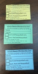 Leisure Square membership cards are shown at the Vero Beach facility July 17, 2019. They're made out of paper and laminated. The facility does not have the kind of digital check-in systems used at most private and public clubs.