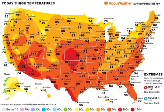 Heat cranks up across the country.