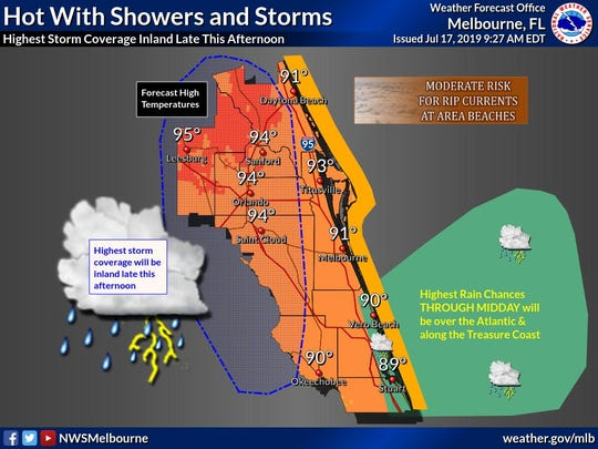 Hot July 17 with highest rain chances along Treasure Coast through mid day.