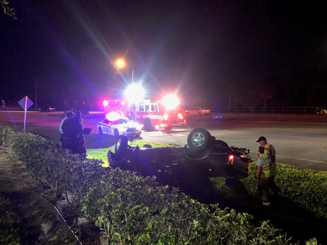 Car flips at U.S. 1 and Indian River Boulevard July 16, 2019.