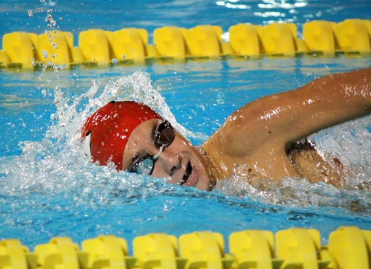 In this file photo from October 2014, Vero Beach High School sophomore John Lalime placed first in the 500 freestyle in 5:08.20 during a meet against Martin County High School at the Coach Dick Wells Training Center in Stuart. Lalime, now a college student, passionately told Vero Beach City Council July 16, 2019, it should keep open its Leisure Square pool, where the VBHS team trains.
