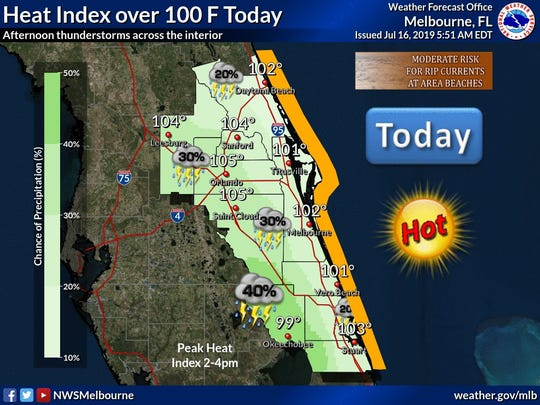 Heat index forecast to be over 100 July 17, 2019.