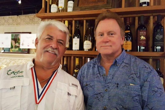 Craig Kingston, left, owner of Taste Casual Dining, and Brad Ayers at White Shirt Night to benefit Helping People Succeed. The event was hosted by Taste Casual Dining.