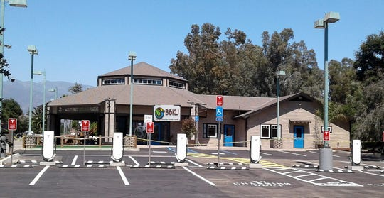 BōKU Superfood in Ojai is the home of a newly installed bank of Tesla charging stations. The company plans to add non-Tesla chargers later.