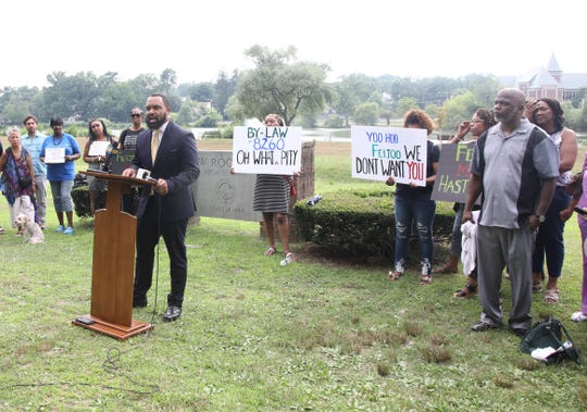 Shiloh Baptist Church Pastor DeQuincy Hentz, a member of The Collective, a group of community activist who oppose the new New Rochelle superintendent's appointment speaks during a press conference in New Rochelle July 17, 2019.