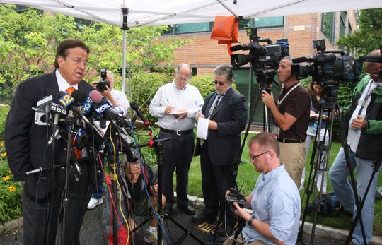 Attorney Dominic A. Barbara speaks to the media in Garden City, Long Island Aug. 6, 2009. Barbara was representing the family of Diane Schuler, the driver in the crash on the Taconic Parkway that killed eight people.