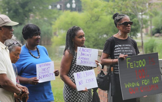 The Collective, a group of community activist who oppose to the new New Rochelle superintendent's appointment held a press conference in New Rochelle July 17, 2019.