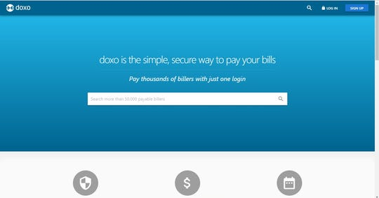 Displayed is Doxo's home page. The website allows users to make many different types of payments in the same place.