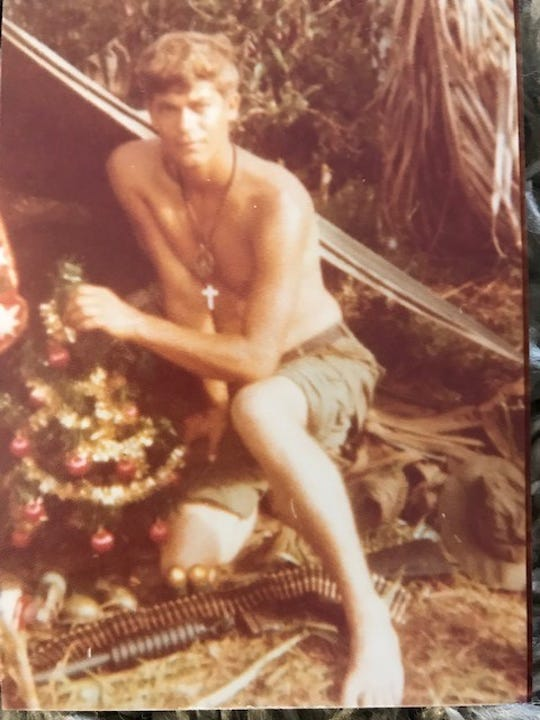 Steve Critchelow is seen in a photo from Christmas time in 1970 during his tour in Vietnam. He said his mother sent him a care package of Christmas goodies that year. He and other members of his former squad are looking for men they served with.