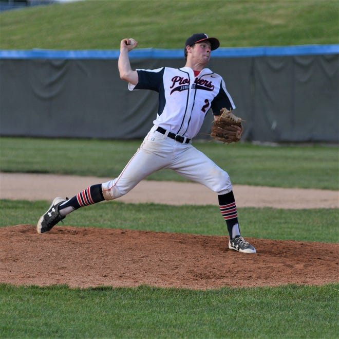 Junior Pioneers pitcher Luke Klinehoffer throws against the Jays on Tuesday night. The Juniors have their league tournament this weekend and will head to Johnstown in three weeks.