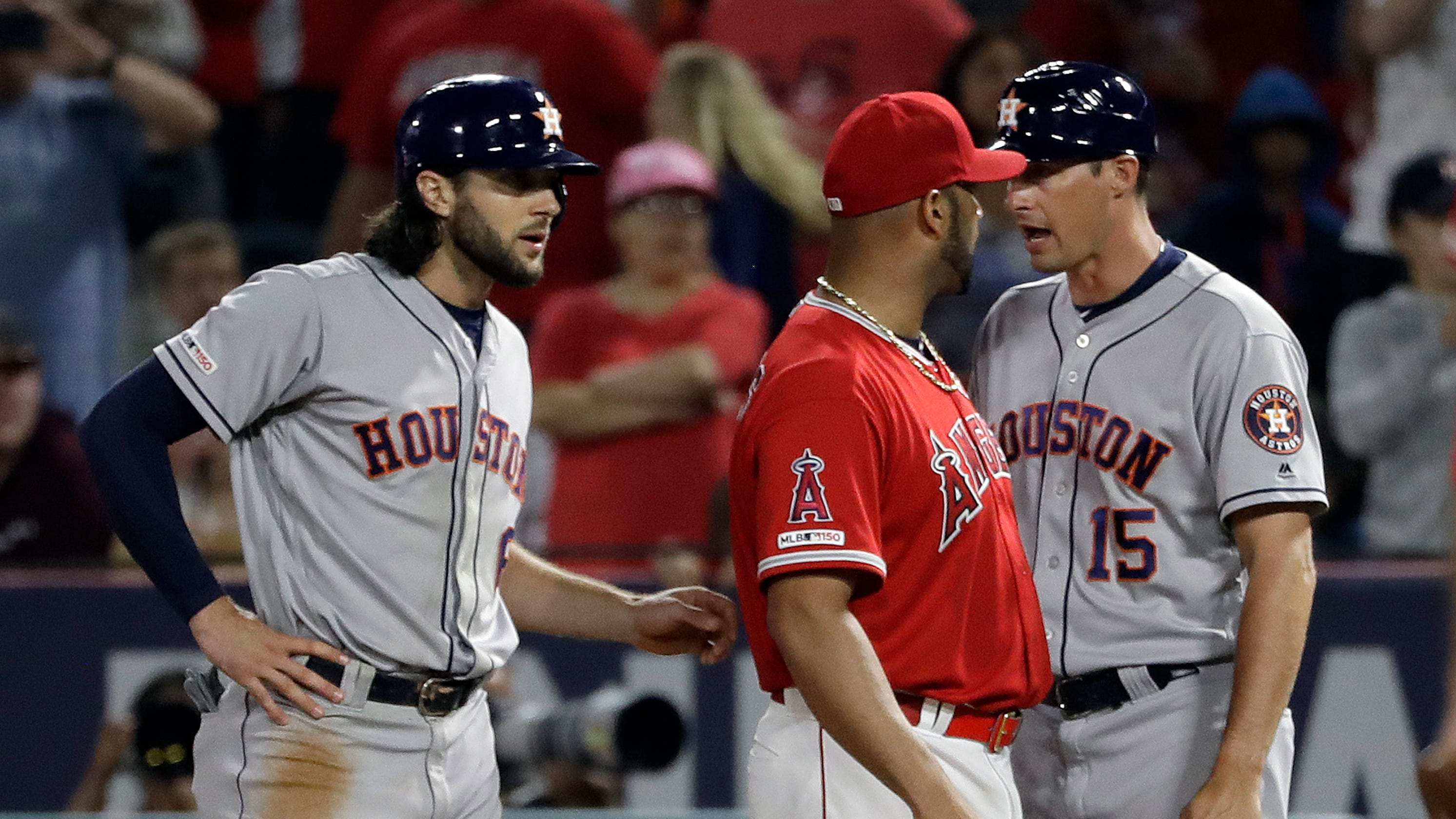 An Angels pitcher says he accidentally hit Jake Marisnick. A.J. Hinch says it was 'a free shot'