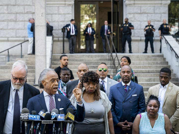 Rev. Al Sharpton with Eric Garner's mother, Gwen Carr, at a press conference in New York City on July 16, 2019, after meeting with federal prosecutors.