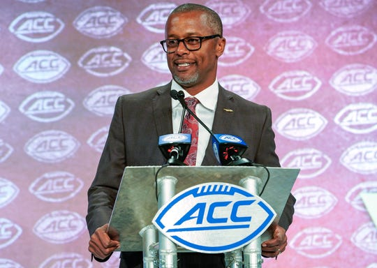 Florida State coach Willie Taggart speaks during the 2019 ACC Kickoff at the Westin Hotel in Charlotte.
