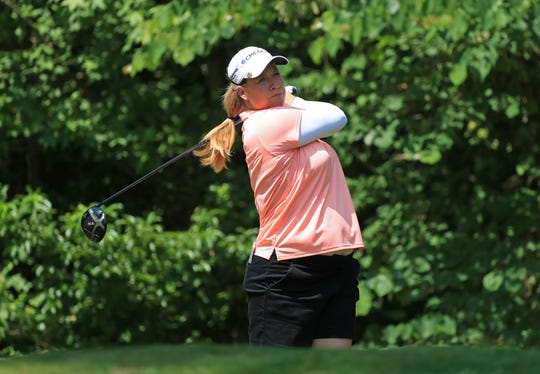 Brittany Lincicome hits her tee shot on the sixth hole during the second round of the Pure Silk Championship presented by Visit Williamsburg on the River Course at Kingsmill Resort on May 24, 2019, in Williamsburg, Virginia.