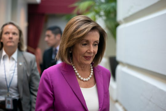 "House Speaker Nancy Pelosi, D-Calif., arrives for a closed-door session with her caucus before a vote on a resolution condemning what she called ""racist comments"" by President Donald Trump at the Capitol in Washington on Tuesday, July 16, 2019."