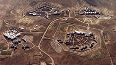 "An aerial image shows Federal Correctional Complex in Florence, Colo. Clockwise from lower left is the minimum security Federal Prison Camp, the high security United States Penitentiary, the maximum security United States Penitentiary and the Federal Correctional Institution. Experts say the drug lord Joaquin ""El Chapo"" Guzman is likely to end up at this facility after his sentencing in July 17, 2019."