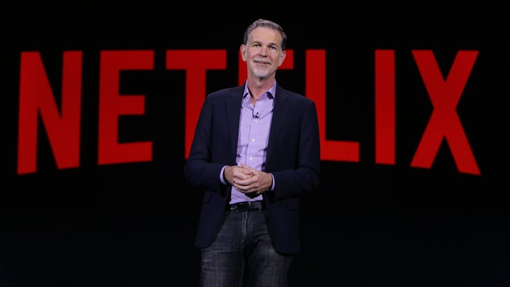Netflix CEO Reed Hastings on stage at CES Jan. 6, 2016.