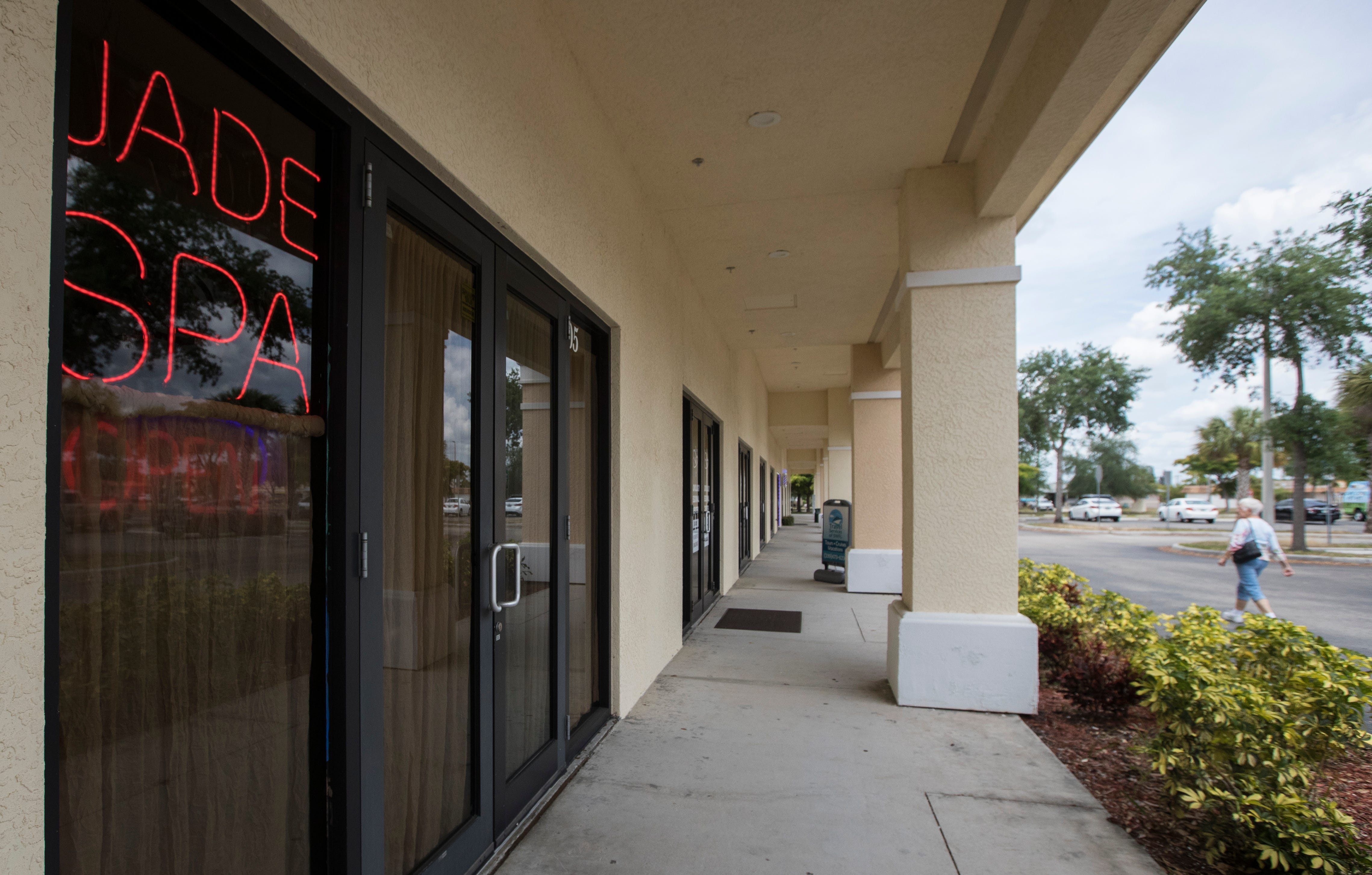 """Jade Spa in Cape Coral, Florida, was one of 13 massage parlors that the Florida Department of Law Enforcement said was """"engaging in acts of prostitution and possibly human sex trafficking of Asian females."""" The spa was raided in June 2017. It is open today under new ownership."""