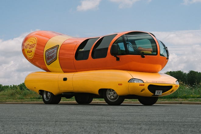 Exterior of Wienermobile, now available on Airbnb.