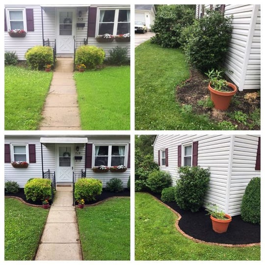 Kristy Epperson's lawn, before and after she hired a landscaper as part of her celebration of paying off student loan debt.