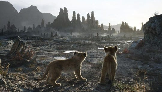 "Nala and Simba visit the desolate elephant graveyard in ""The Lion King."""