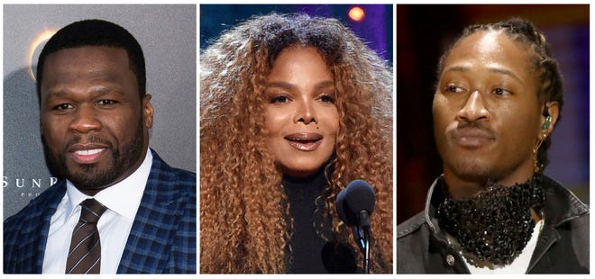 This combination photo shows, from left, rapper 50 Cent, singer Janet Jackson and rapper Future who have been added to the lineup for the Jeddah World Fest, the concert in Saudi Arabia. Nicki Minaj pulled out of the concert after human rights organizations urged her to cancel her appearance. (AP Photo) ORG XMIT: NYET310