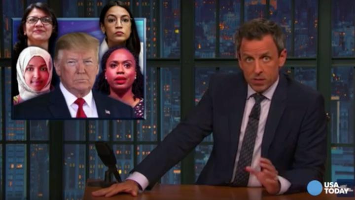 Comedian Seth Meyers responds to President Trump's racist tweets