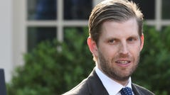Eric Trump, son of President Donald Trump, attends a ceremony for US golfer Tiger Woods in the Rose Garden of the White House in Washington, on May 6, 2019.