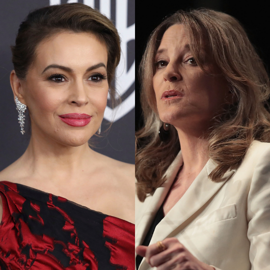 Alyssa Milano and Marianne Williamson