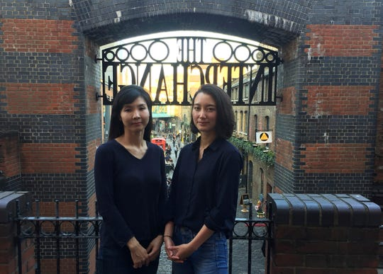 In this Feb. 27, 2019, photo, Seo Ji-hyun of South Korea, left, and Shiori Ito from Japan pose for a photo in Camden Town in London.