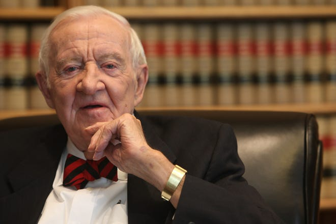 Former Supreme Court Associate Justice John Paul Stevens during an interview with USA TODAY in his chambers at the court in 2014, on the eve of his 94th birthday.